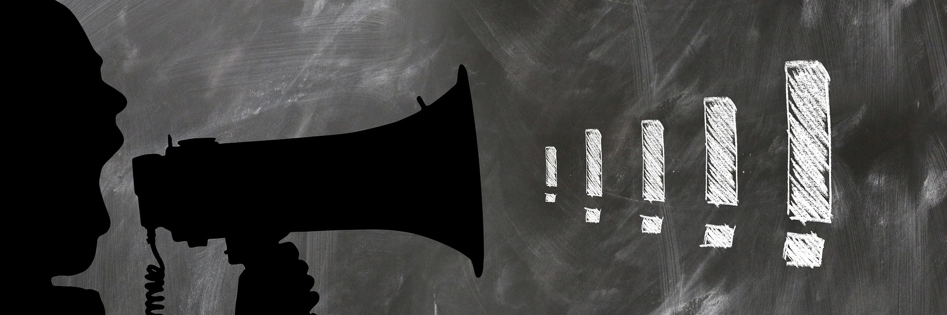 megaphone with exclamation points