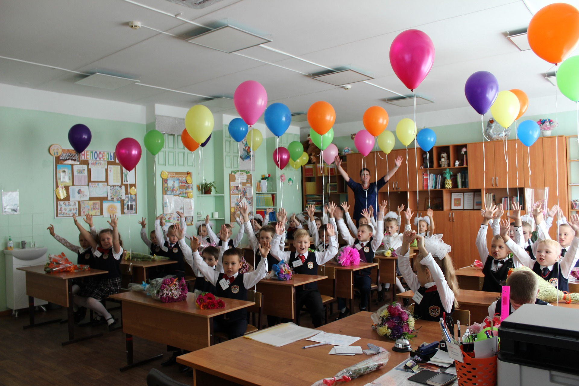 class party with balloons